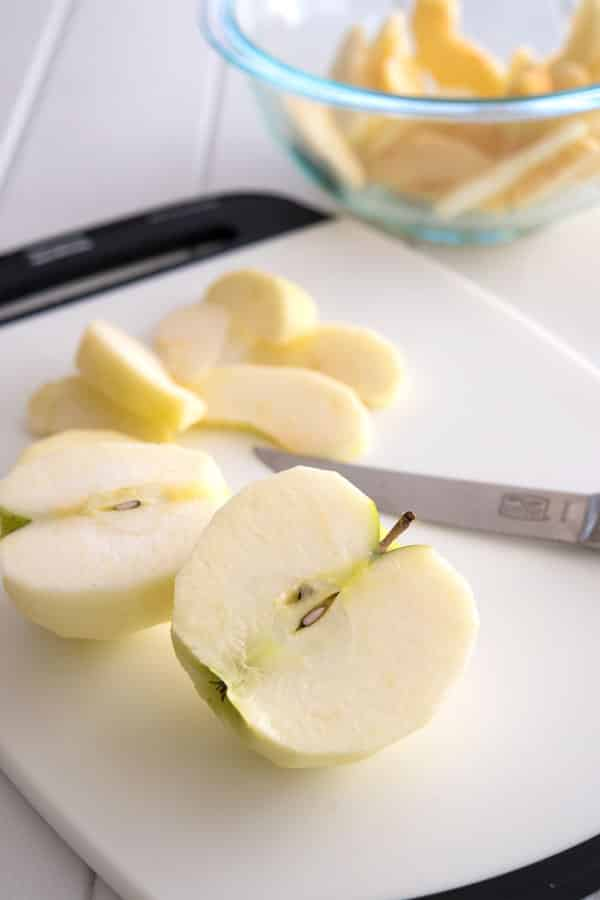Slicing apples for Crock Pot Cinnamon Apples