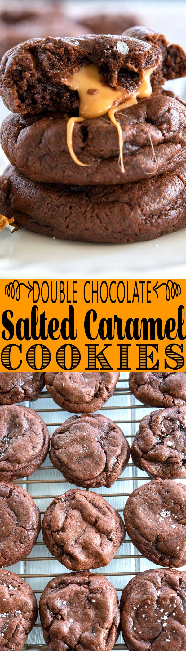 Double Chocolate Salted Caramel Cookies stuffed with Rolo candy! Sooo soft and chewy! #christmas #christmascookies #dessert #dessertideas