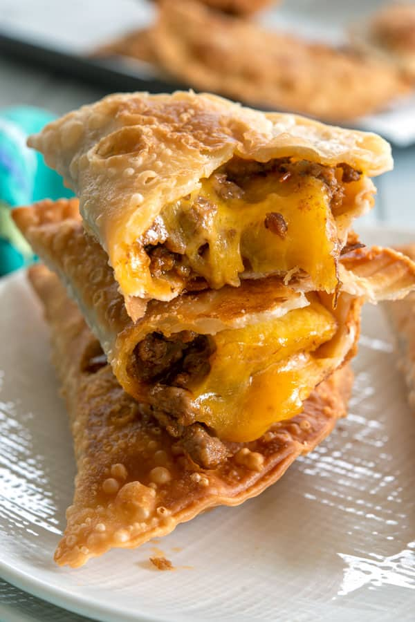 Inside shot of Pastelón Empanadas with cheese, plantain and picadillo filling