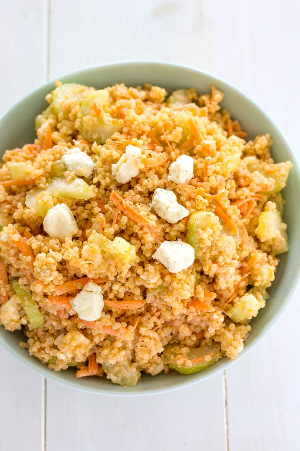 Buffalo Chicken Quinoa Salad with blue cheese, celery, carrots and creamy hot sauce dressing
