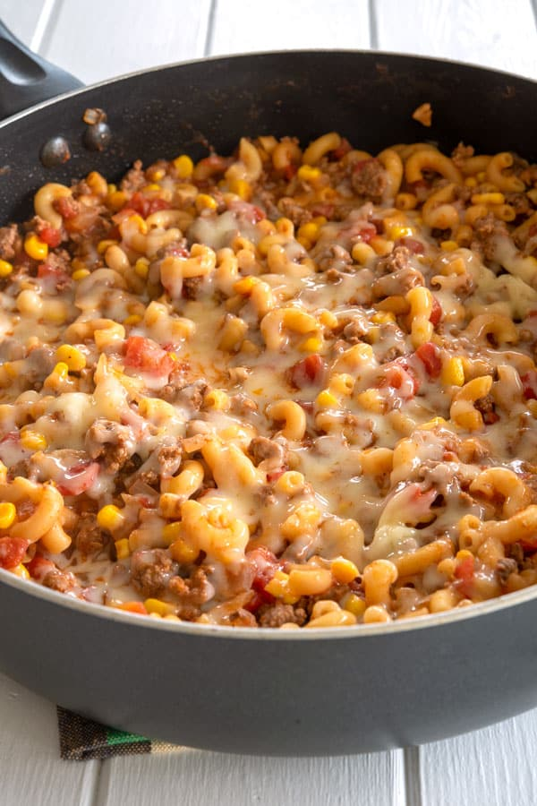 Mexican Goulash: finished skillet dinner topped with cheese