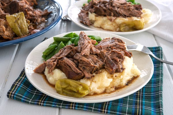 Mississippi Pot Roast with mashed potatoes and gravy