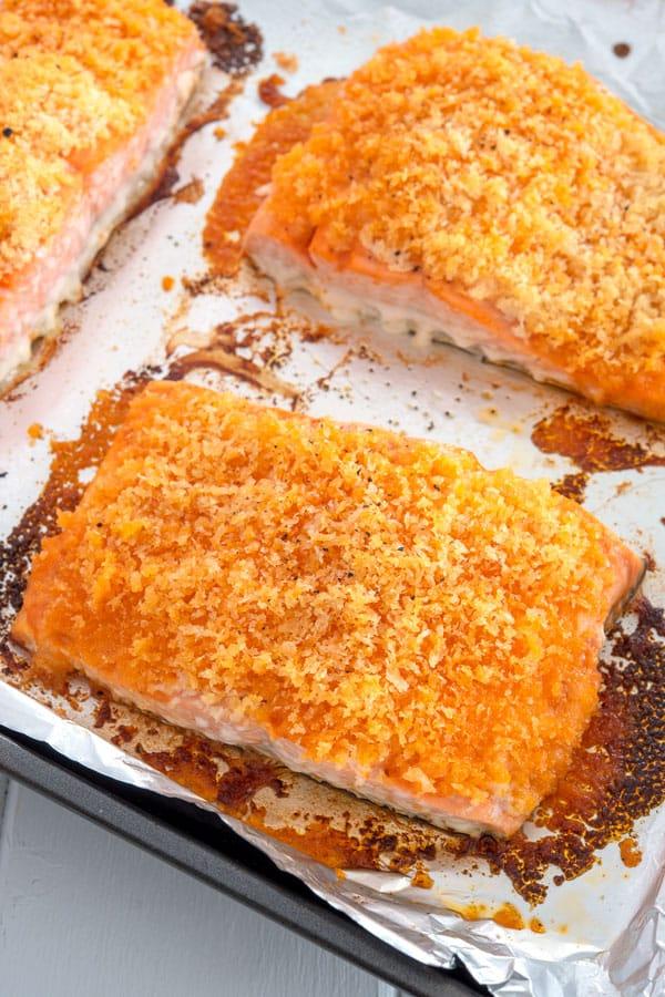 Buffalo Salmon on baking sheet fresh from oven