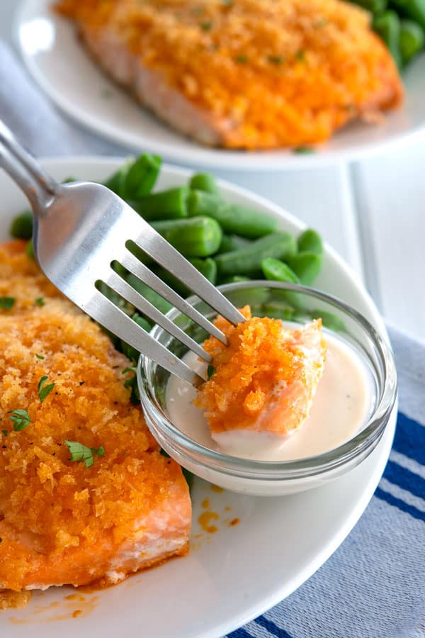 Buffalo Salmon being dipped in ranch