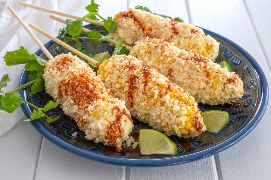 Elote recipe: Mexican corn on the cob on a platter