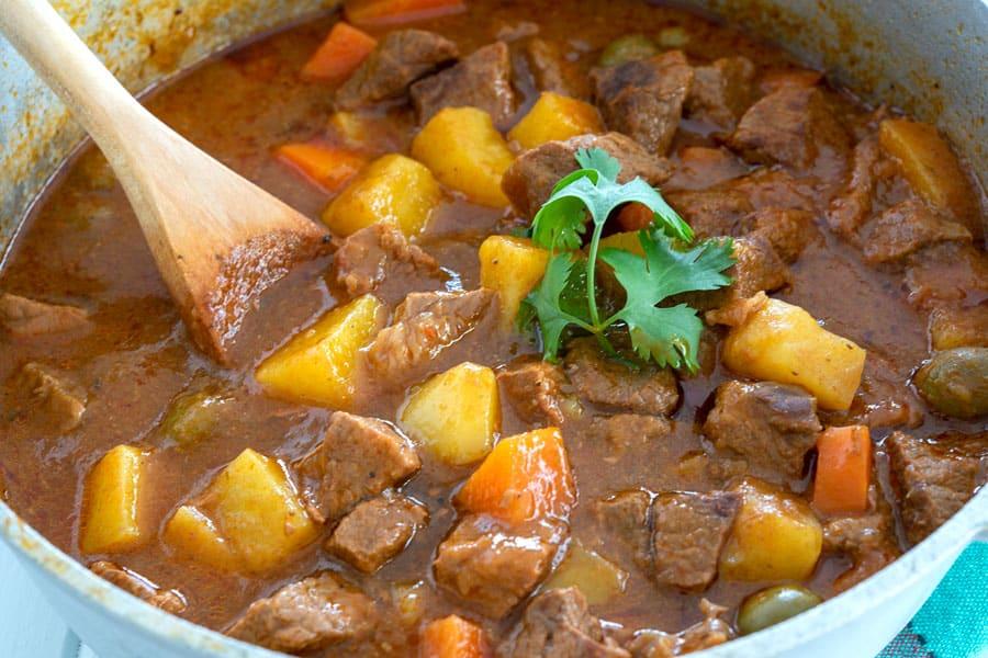 Large caldero of Puerto Rican Carne Guisada (Beef Stew)