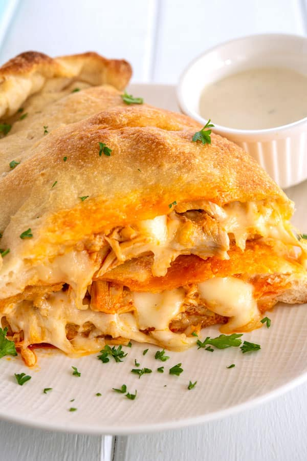Buffalo Chicken Calzones on a plate