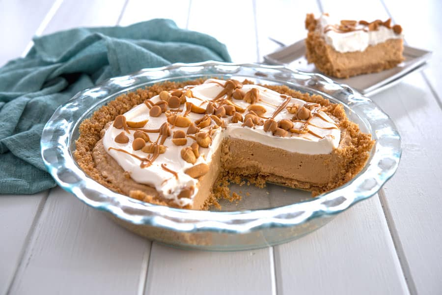 No Bake Peanut Butter Pie with graham cracker crust, cream cheese and cool whip