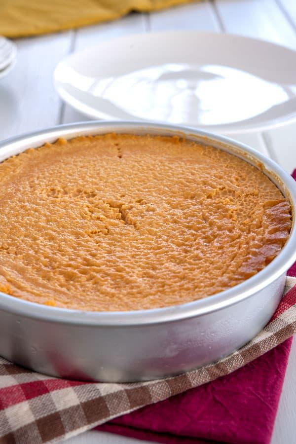 Pumpkin flan in the pan before unmolding