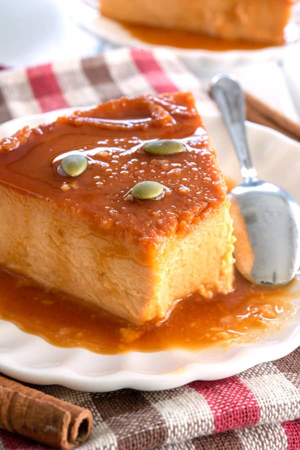 Wedge of Pumpkin Flan on a plate