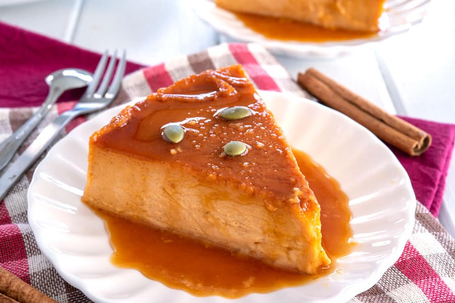 Slice of Flan de Calabaza y Queso on a plate