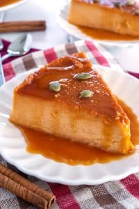 Slice of Pumpkin Flan on a plate