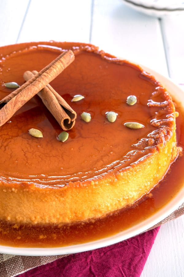 Whole Pumpkin Flan with cinnamon and cream cheee