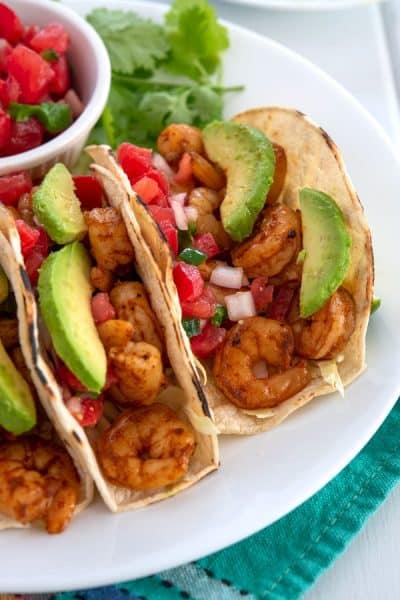 Shrimp Tacos with avocado and salsa