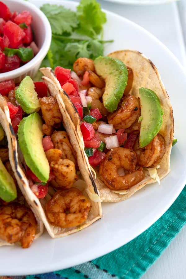Shrimp Tacos with avocado and salsa
