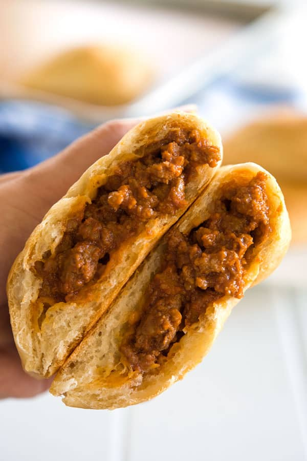 Inside shot of Unsloppy Joes with beef filling