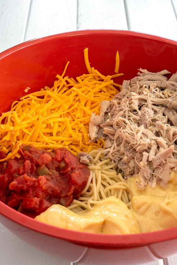 Bowl with ingredients for Chicken Spaghetti with Rotel