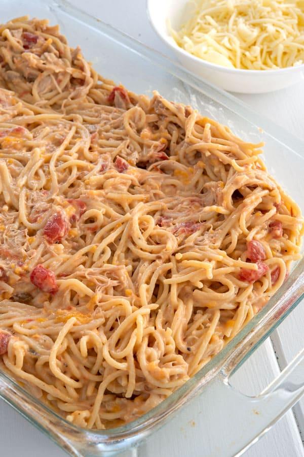 Rotel Chicken Spaghetti casserole before baking