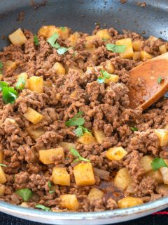 Mexican Picadillo in a large skillet